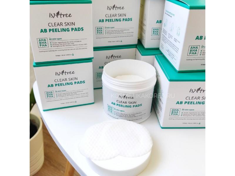 Пилинг Салфетки c АНА и ВНА кислотами Isntree Clear Skin AB Peeling Pads
