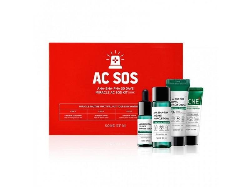 Набор миниатюр с кислотами для проблемной кожи Some By Mi AC SOS AHA-BHA-PHA 30 Days Miracle Kit